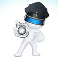 3d Man in Vector showing Police Badge Royalty Free Stock Images