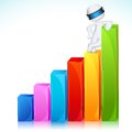 3d Man in Vector Standing on Bar Graph Royalty Free Stock Photography