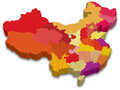 3D Map of China Stock Photo