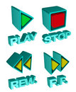 3d media player buttons Stock Image