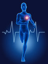 3D medical man running with ECG Royalty Free Stock Image