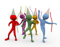 3d men dancing - party time Royalty Free Stock Photography