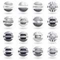 3d metallic sphere icons set. Stock Photos