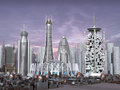 3d Model of Sci-fi city Royalty Free Stock Photos