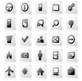 3D Monochrome Interface Icons 2 Royalty Free Stock Photography