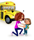 3D Mother sending kid off to school Stock Photo