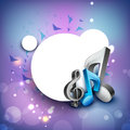 3D musical notes on shiny background. Stock Images