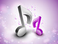 3D musical notes on shiny background. Royalty Free Stock Photo