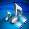 3D musical notes on shiny background. Stock Photo