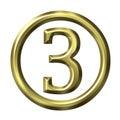 3D numero dorato 3 Fotografie Stock Libere da Diritti