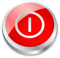 3d On/Off button on red Royalty Free Stock Photo