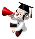 3d old doctor speaking by red loudspeaker Royalty Free Stock Photos