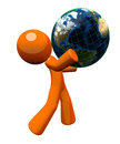 3d Orange Man Carrying Globe Royalty Free Stock Photography
