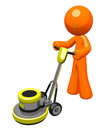 3d Orange Man with Floor Buffer Royalty Free Stock Images