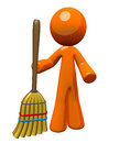 3d Orange Man Holding Broom Standing Up Royalty Free Stock Photos