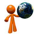 3d Orange Man Holding Globe Stock Images