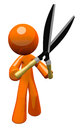 3d Orange Man Holding Hedge Trimmers Royalty Free Stock Image