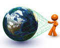 3d Orange Man Pulling Giant Globe Royalty Free Stock Photography