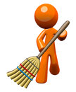 3d Orange Man Sweeping with Broom Royalty Free Stock Image
