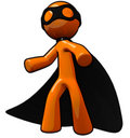 3d Orange Man Thief, or Super Villain Royalty Free Stock Images