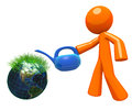 3d Orange Man Watering Globe with Grass Stock Photos