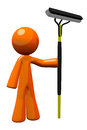 3d Orange Man Window Washer with Squeejee Stock Photo