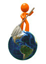 3d Orange ManMopping Globe / Earth Stock Photography
