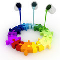 3d paint buckets drop over puzzle Royalty Free Stock Photo