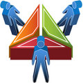 3D People Around Triangle Stock Images