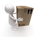 3D People Delivers Cardboard Box Royalty Free Stock Photo