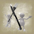 3D People With Fork and Spoon Royalty Free Stock Image