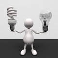 3D People With Lighting Bulb Royalty Free Stock Photography