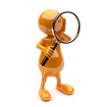 3D People with Magnifying Glass Stock Photo