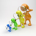 3D People with Magnifying Glass in Different Colors Stock Image