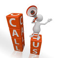 3D People with Megaphone and Word Call Us Royalty Free Stock Images