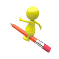 3D People Pencil Ride Stock Image