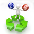 3D People with two Earth Globes in Hands with Recycle Logo Royalty Free Stock Images