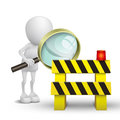 3d person watching a roadblock with a magnifying glass Royalty Free Stock Image