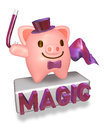 3d pink pig magician showing his magic Royalty Free Stock Photos