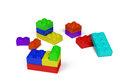 3d plastic toy blocks Stock Photo