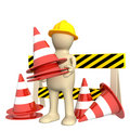 3d puppet with emergency cones Royalty Free Stock Photography