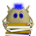 3D puppet hiding behind pile of books Royalty Free Stock Photo