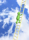 3d  puppet, rising upwards on a ladder Royalty Free Stock Photo