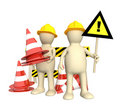 3d puppets with emergency cones Royalty Free Stock Image