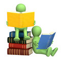 3d puppets, reading the books Royalty Free Stock Photo