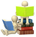 3d puppets, reading the books Royalty Free Stock Photography