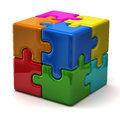 3d puzzle cube Stock Photos