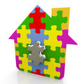 3d puzzle house Stock Photos