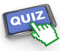 3d quiz button and hand cursor pointer Stock Images