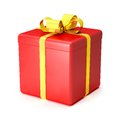 3D red gift box with yellow ribbons over white background Stock Photo